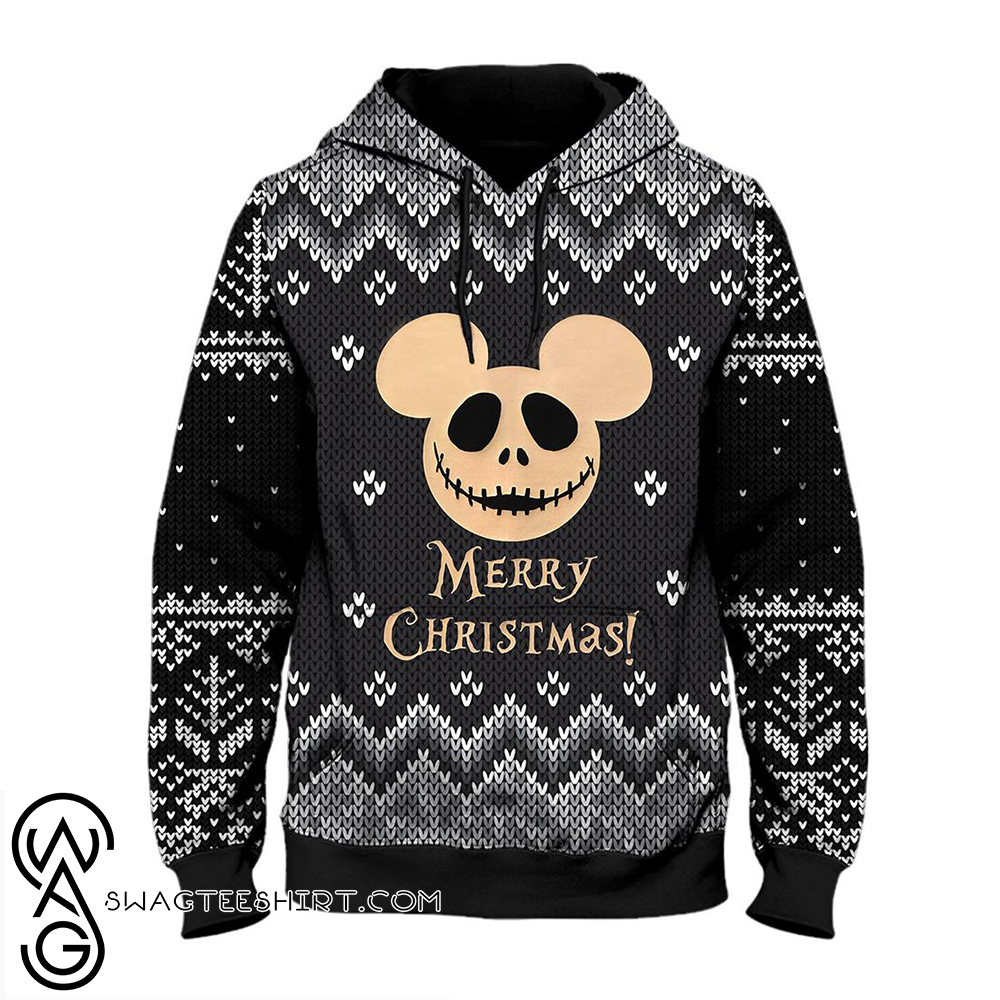 Jack skellington mickey mouse merry christmas all over print hoodie