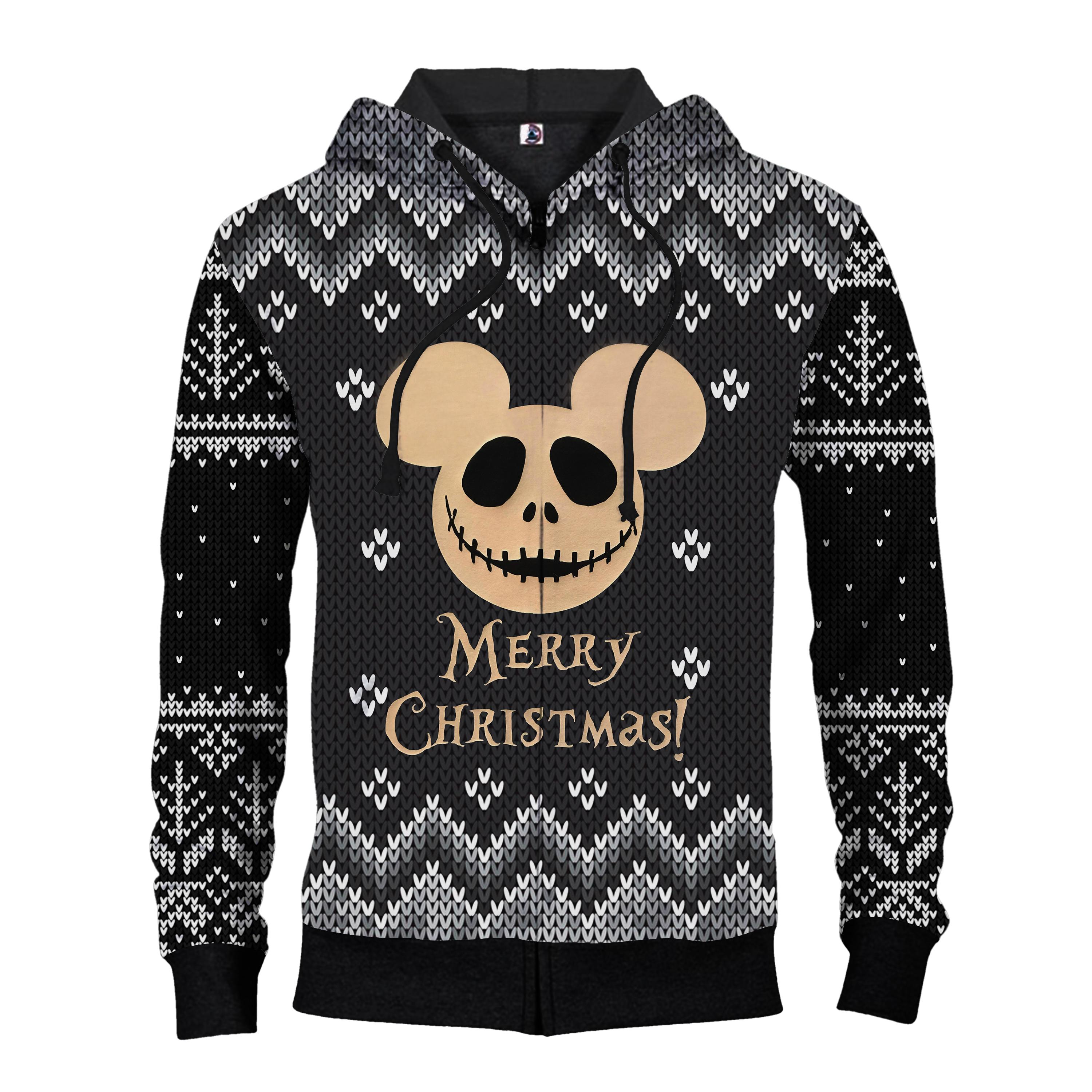 Jack skellington mickey mouse merry christmas all over print zip hoodie