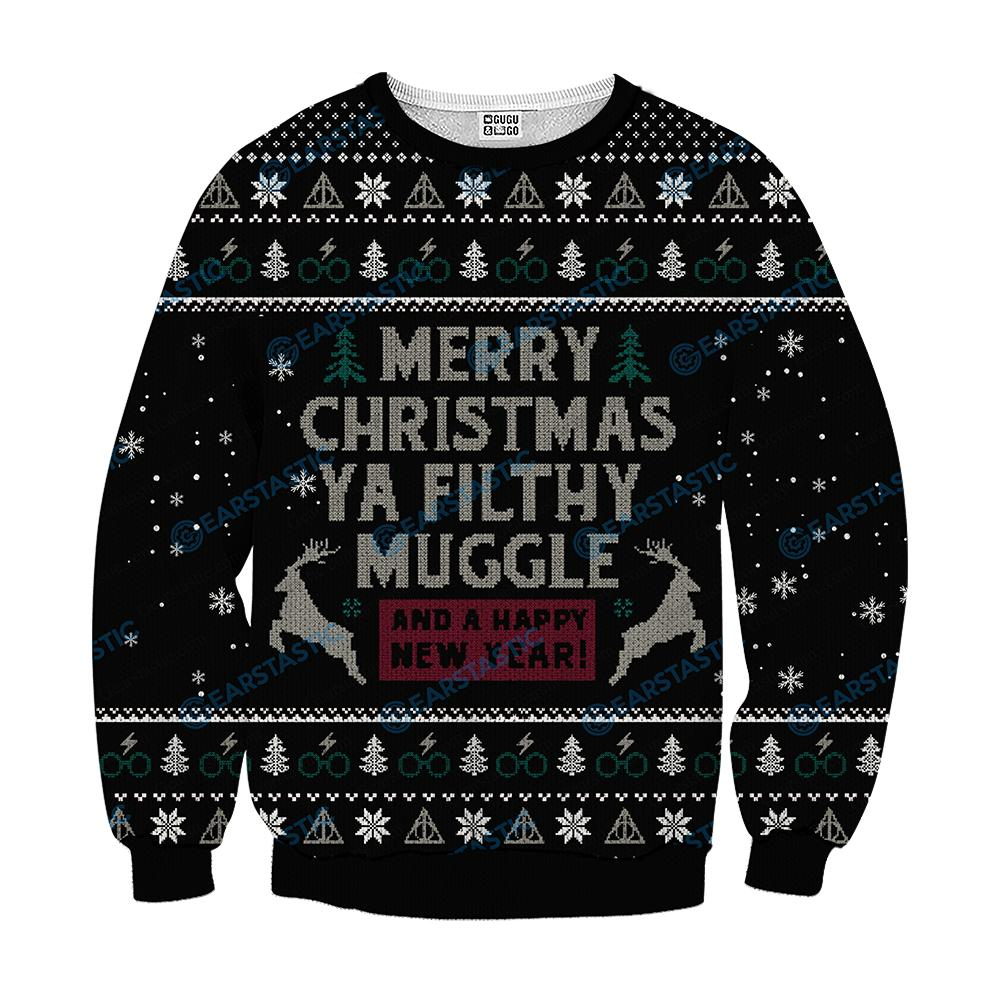 Merry christmas ya filthy muggle and a happy new year ugly sweater - black