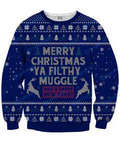 Merry christmas ya filthy muggle and a happy new year ugly sweater - navy