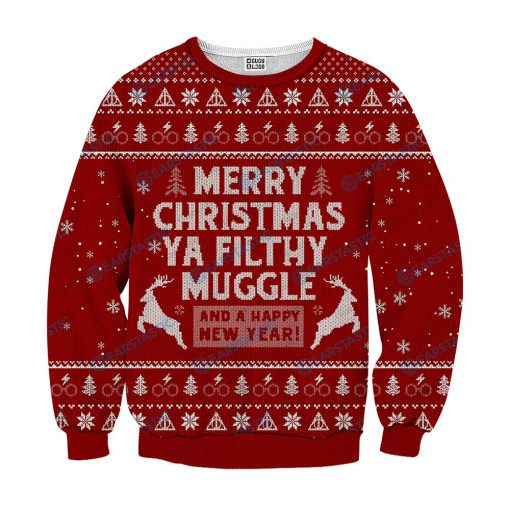 Merry christmas ya filthy muggle and a happy new year ugly sweater - red