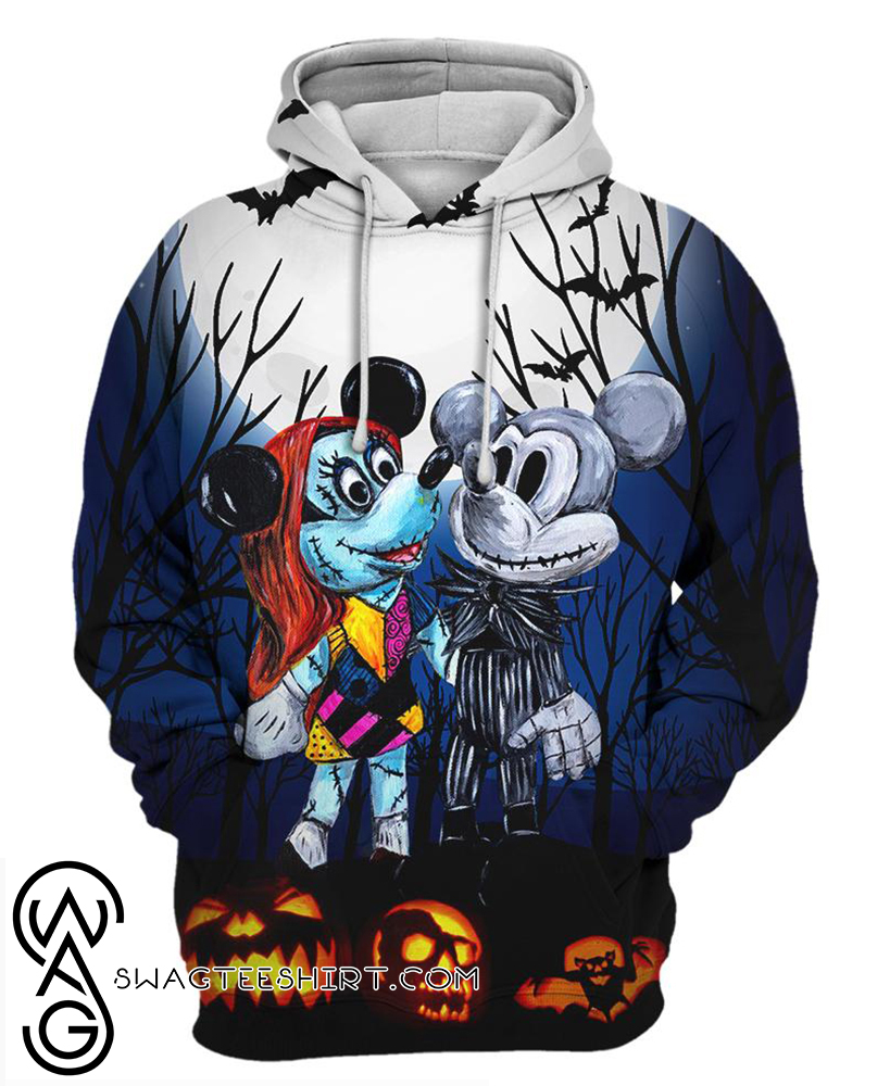 Mickey and minnie mouse as jack and sally halloween 3d hoodie