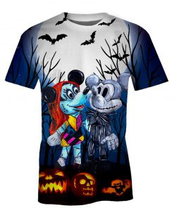 Mickey and minnie mouse as jack and sally halloween 3d tshirt