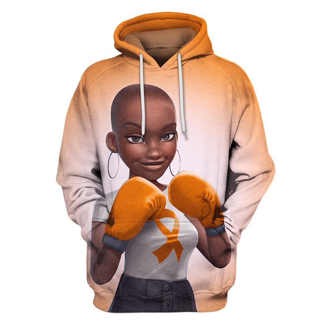 Multi-color melanin warrior fight like a girl cancer awareness 3d hoodie - orange