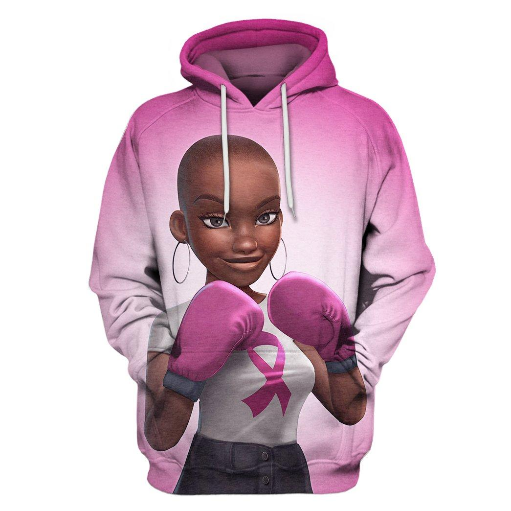 Multi-color melanin warrior fight like a girl cancer awareness 3d hoodie - pink