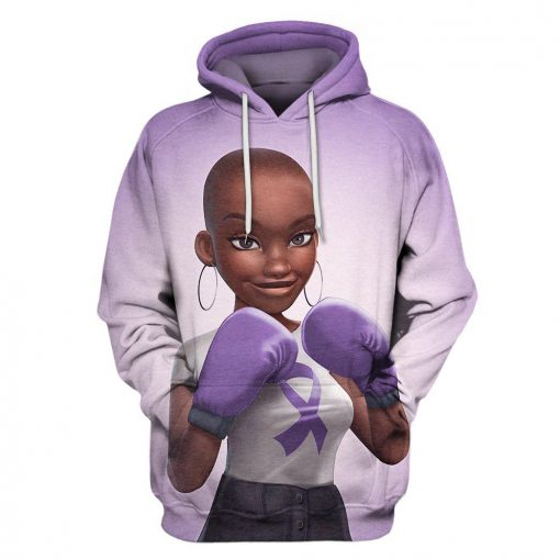 Multi-color melanin warrior fight like a girl cancer awareness 3d hoodie - purple