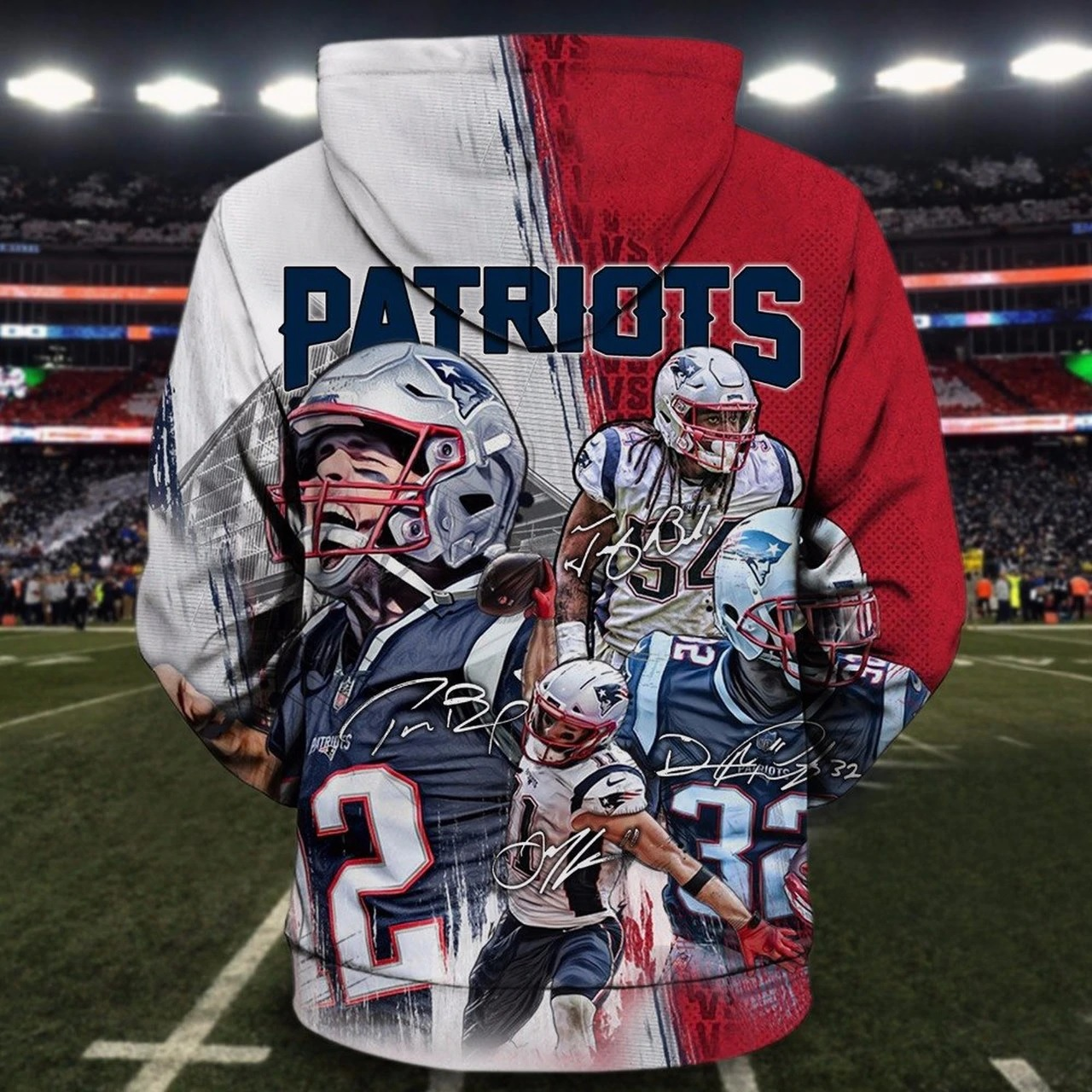 NFL new england patriots all star winning all over print zip hoodie - back
