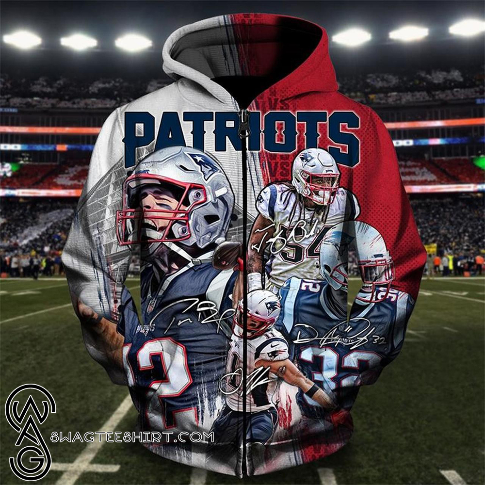 NFL new england patriots all star winning all over print zip hoodie