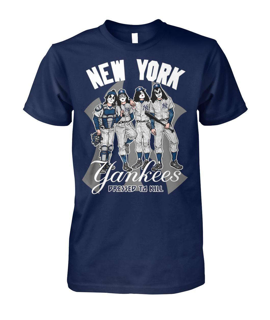 New york yankees dressed to kill kiss rock band unisex cotton tee