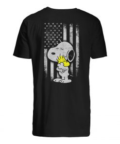 Peanuts snoopy and woodstock american flag mens shirt