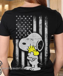 Peanuts snoopy and woodstock american flag shirt