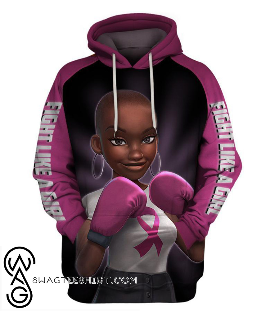Pink warrior breast cancer awareness 3d hoodie