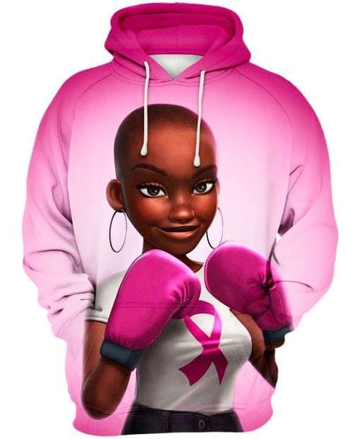 Pink warrior breast cancer awareness 3d pink pullover hoodie