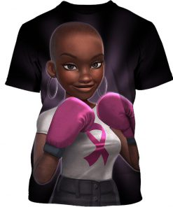 Pink warrior breast cancer awareness 3d t-shirt