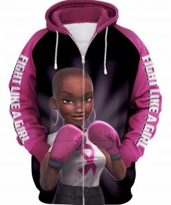 Pink warrior breast cancer awareness 3d zip-up hoodie