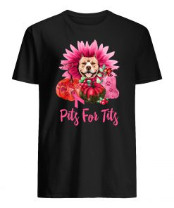 Pitbull pits for tits gerbera pumpkin breast cancer awareness mens shirt