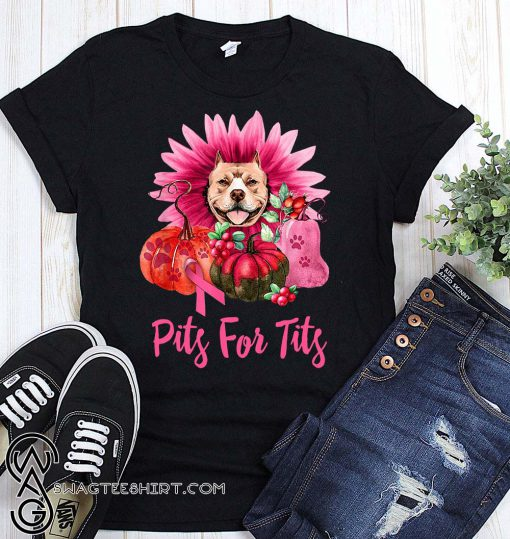 Pitbull pits for tits gerbera pumpkin breast cancer awareness shirt