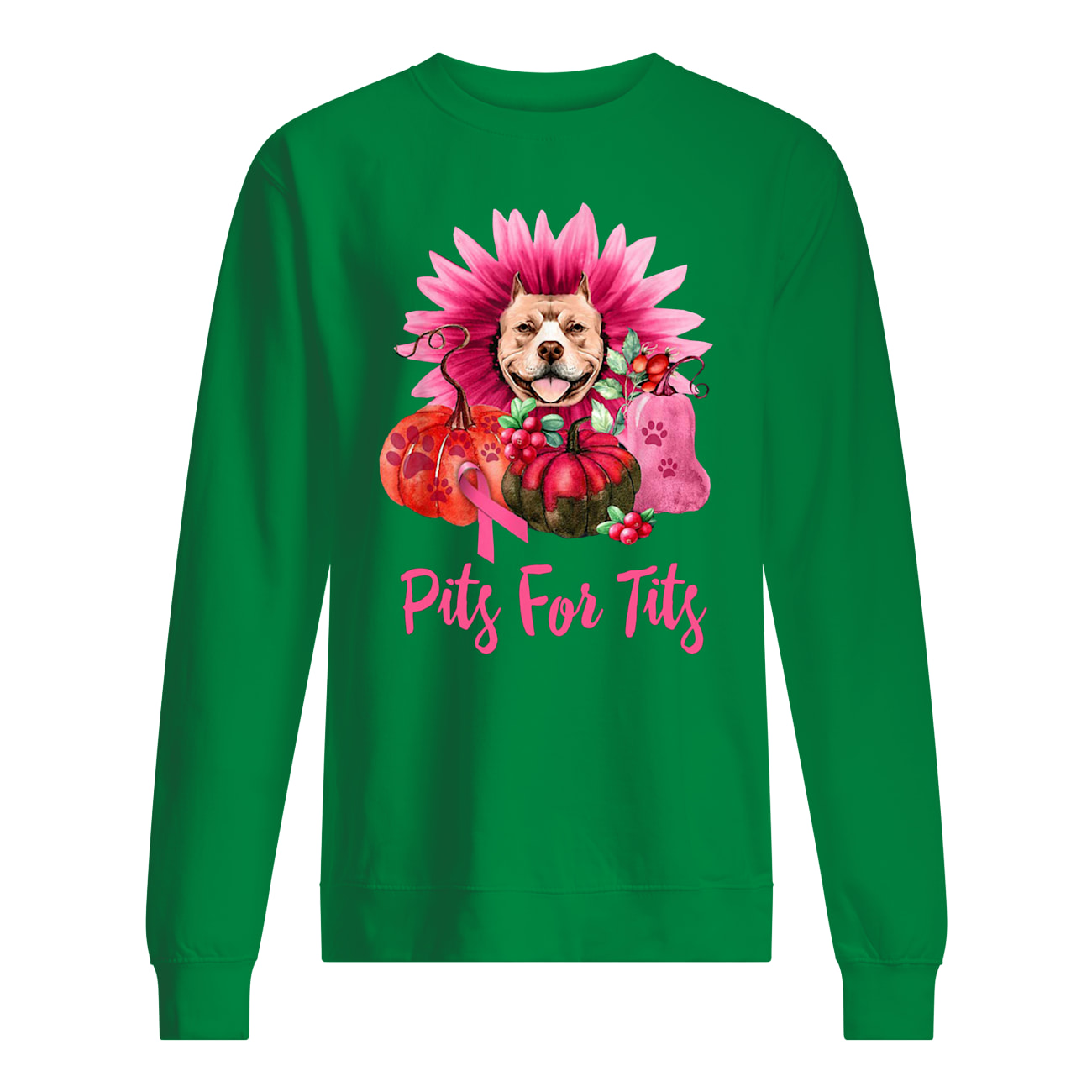 Pitbull pits for tits gerbera pumpkin breast cancer awareness sweatshirt
