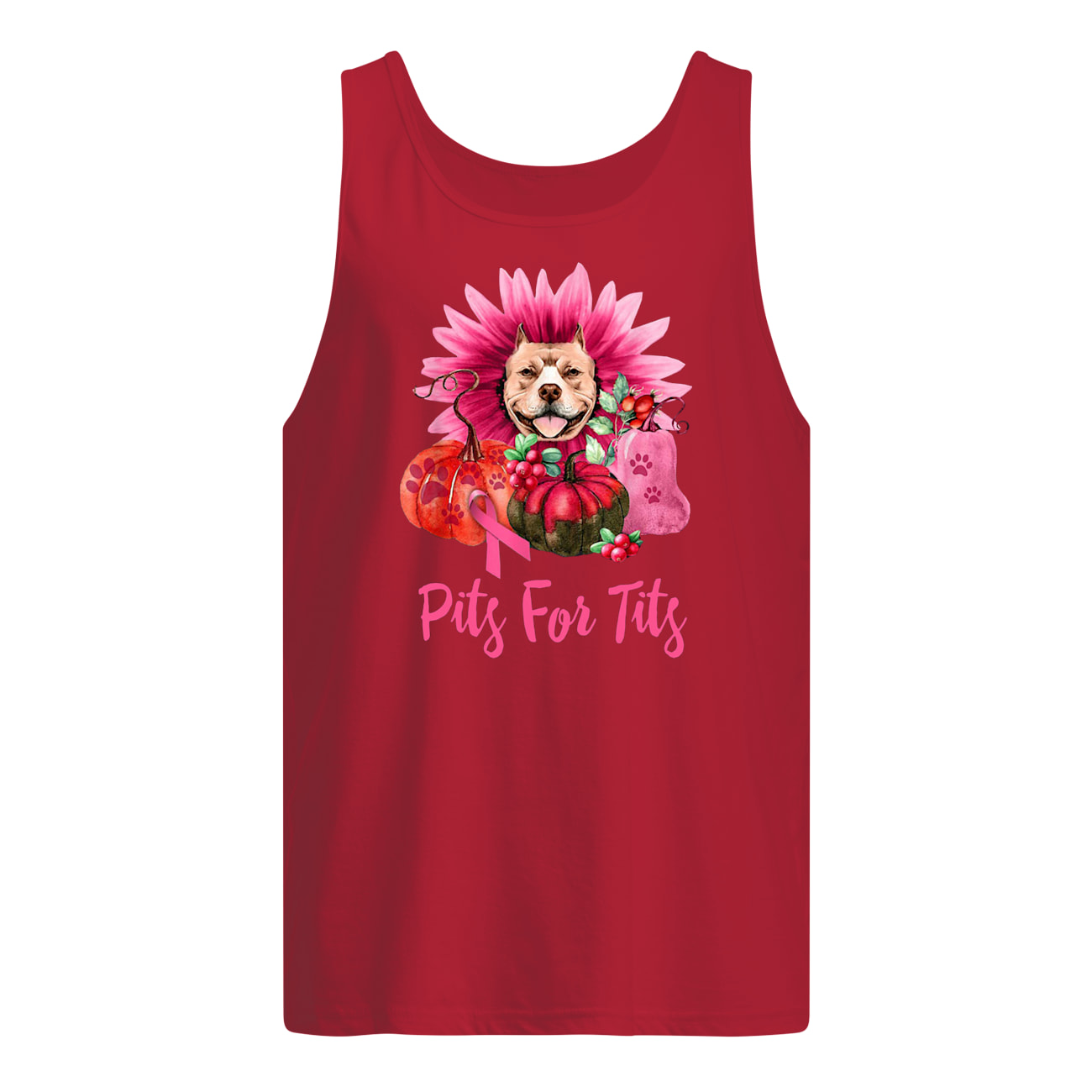 Pitbull pits for tits gerbera pumpkin breast cancer awareness tank top