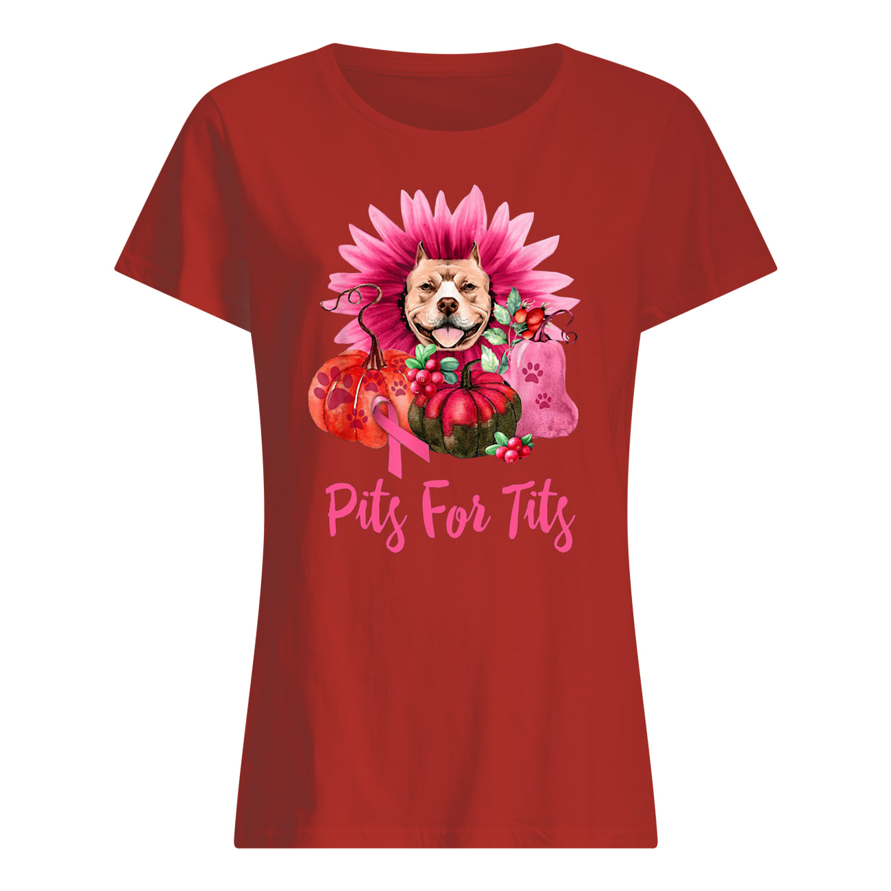 Pitbull pits for tits gerbera pumpkin breast cancer awareness womens shirt
