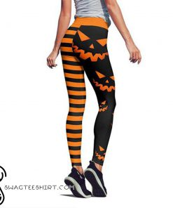 Pumpkin hallowstripes high waist legging