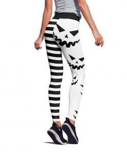 Pumpkin hallowstripes high waist legging white - back