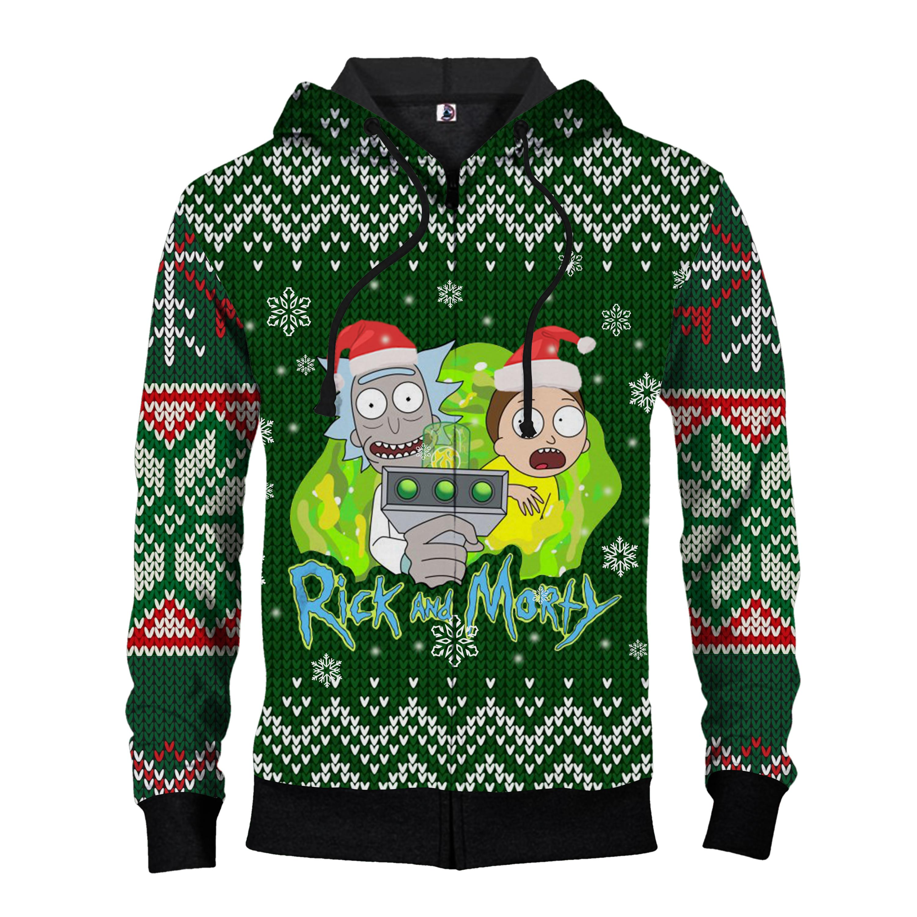 Rick and morty ugly christmas all over print ZIP HOODIE