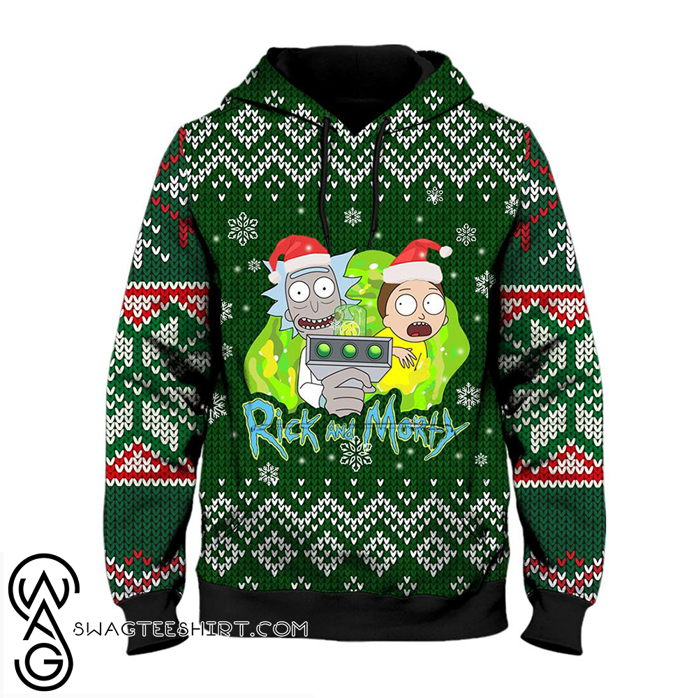 Rick and morty ugly christmas all over print hoodie