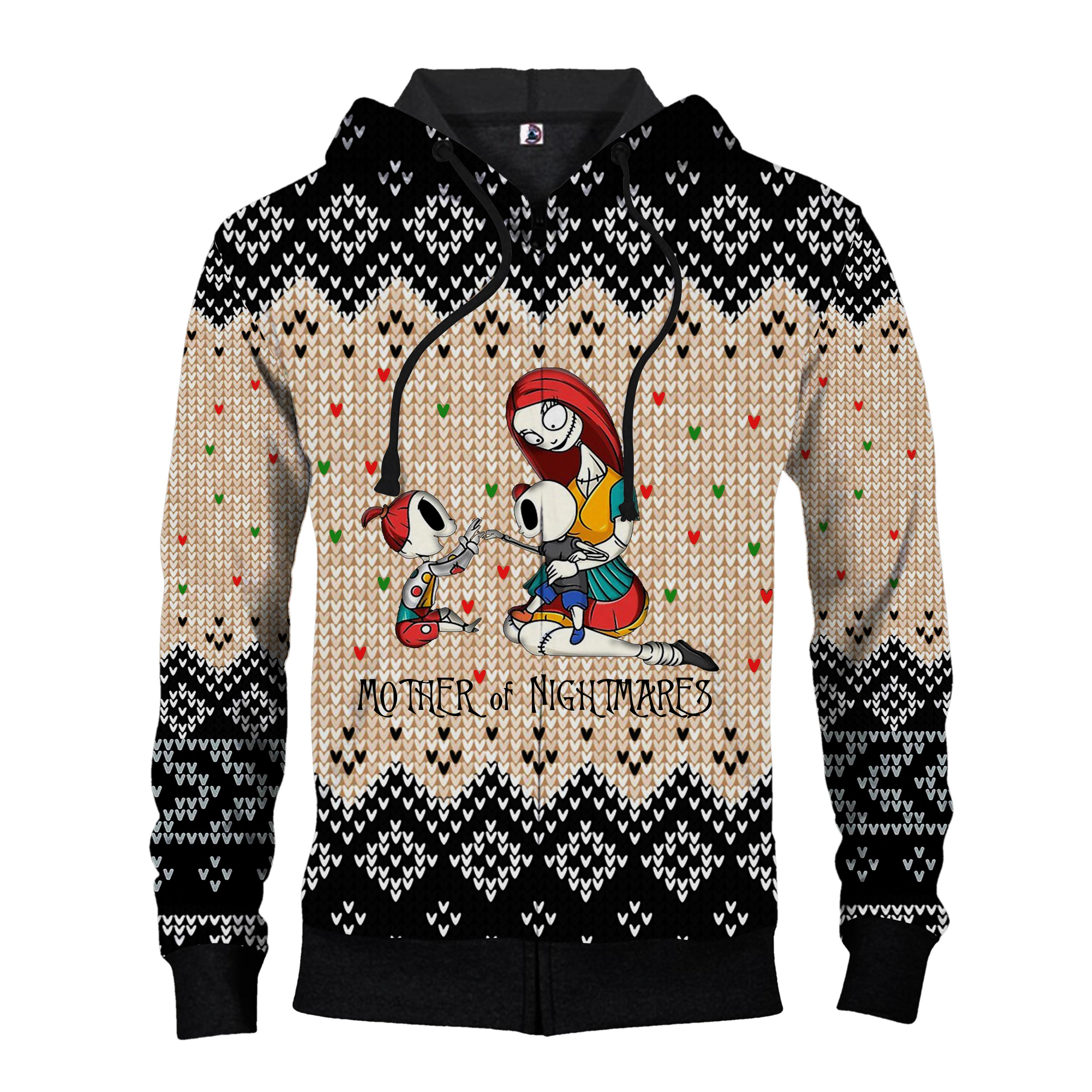 Sally mother of nightmares ugly christmas all over print zip hoodie
