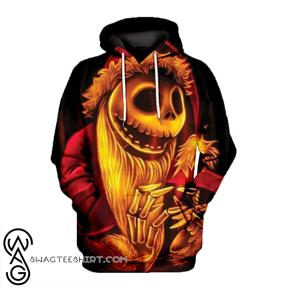 Santa jack skellington all over print hoodie