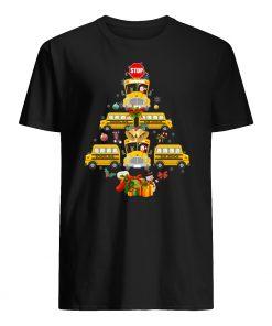 School bus christmas tree mens shirt