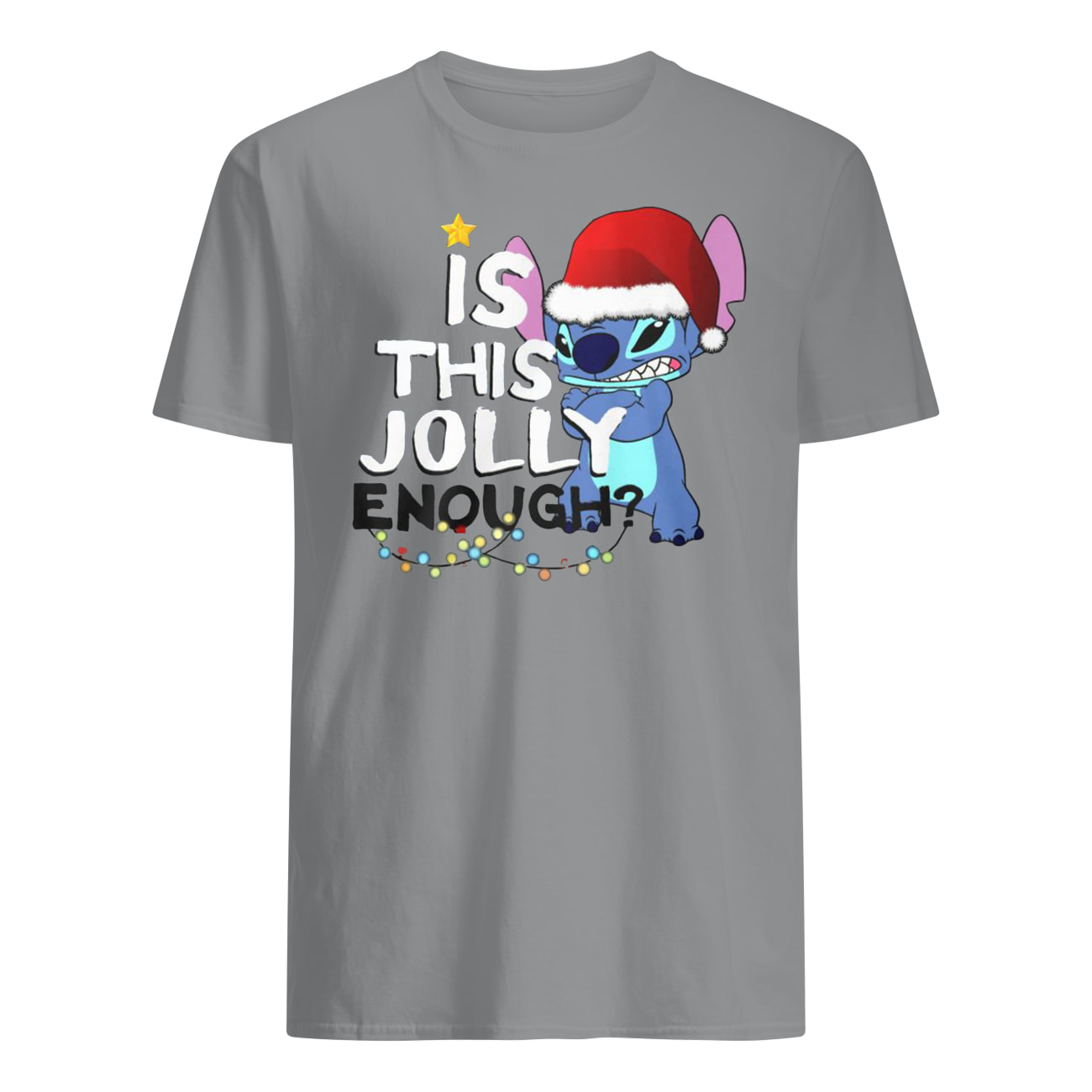 Stitch is this jolly enough christmas mens shirt