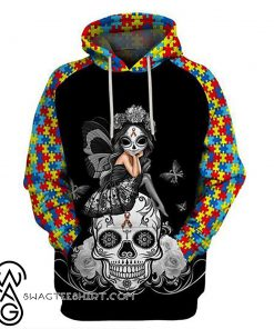 Sugar skull fairy autism awareness 3d hoodie