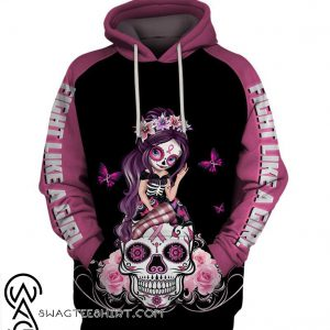 Sugar skull fairy fight like a girl breast cancer awareness 3d hoodie
