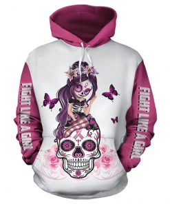 Sugar skull fairy fight like a girl breast cancer awareness 3d white pullover hoodie