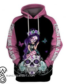 Sugar skull fairy fight like a girl thyroid cancer awareness 3d hoodie