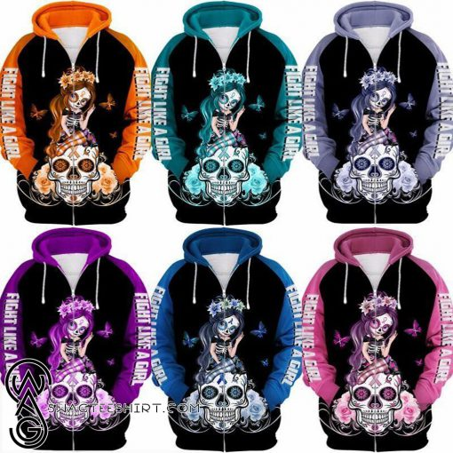 Sugar skull fairy figurine fight like a girl cancer awareness 3d hoodie