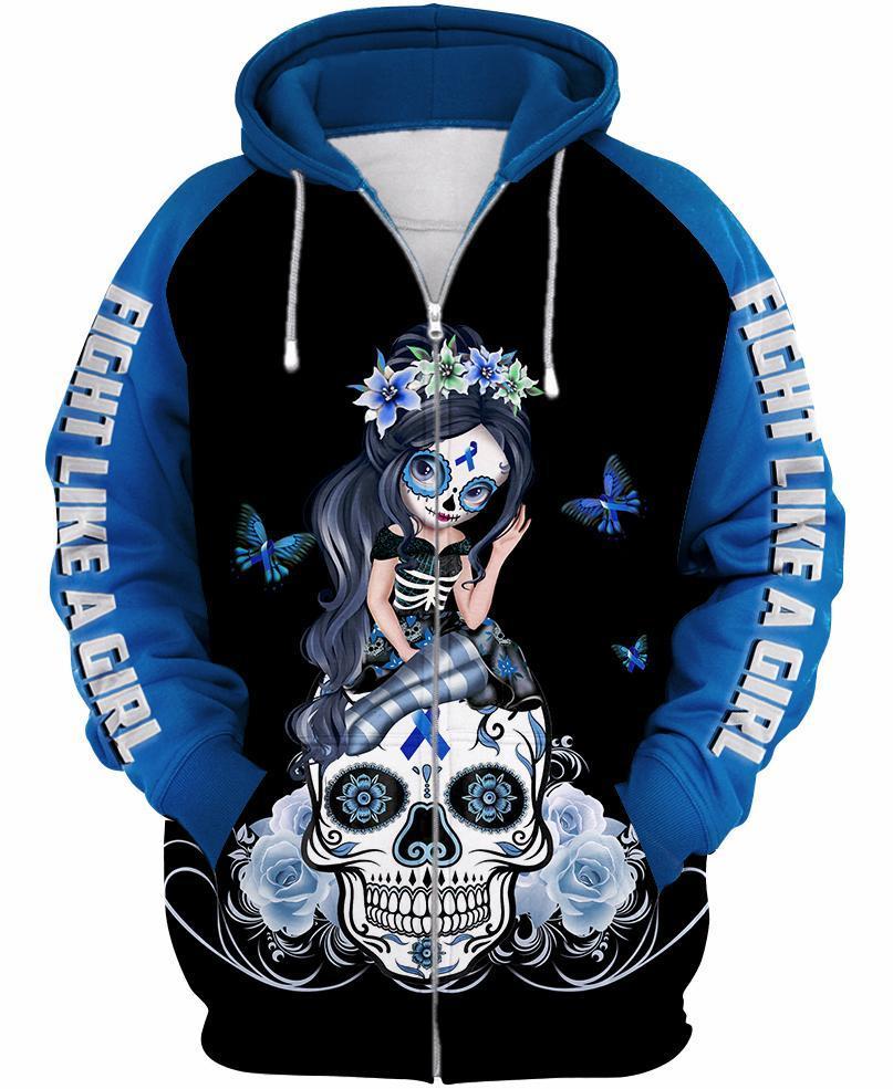 Sugar skull fairy figurine fight like a girl cancer awareness 3d hoodie - blue