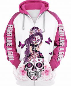 Sugar skull fairy figurine fight like a girl cancer awareness 3d hoodie - white pink