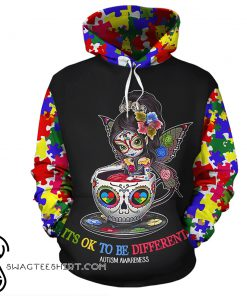 Sugar skull fairy it's ok to be different autism awareness 3d hoodie