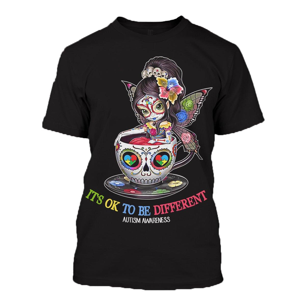 Sugar skull fairy it's ok to be different autism awareness 3d tshirt