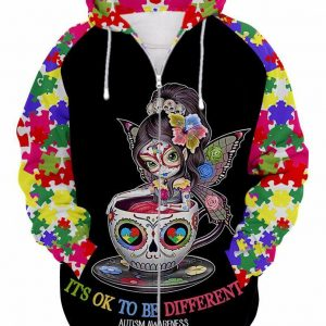 Sugar skull fairy it's ok to be different autism awareness 3d zip hoodie