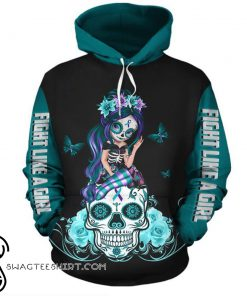Sugar skull fight like a girl suicide prevention awareness 3d hoodie