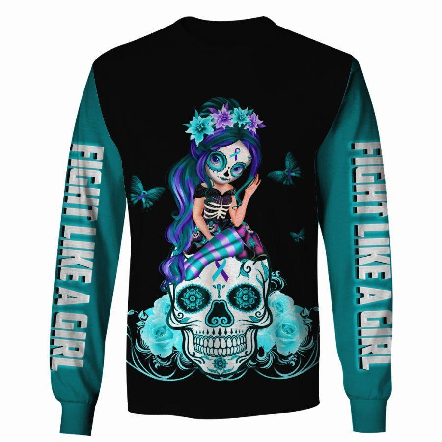 Sugar skull fight like a girl suicide prevention awareness 3d sweatshirt