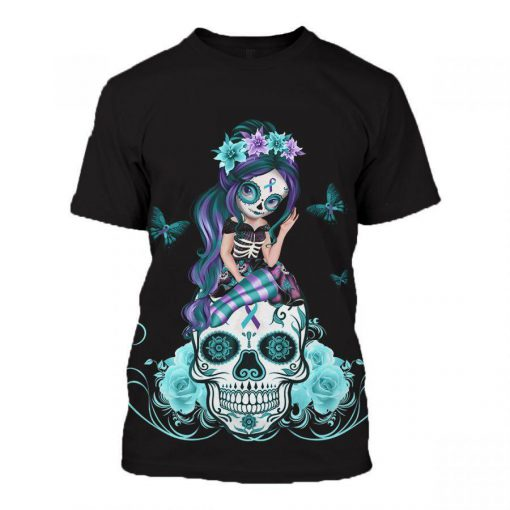 Sugar skull fight like a girl suicide prevention awareness 3d t-shirt