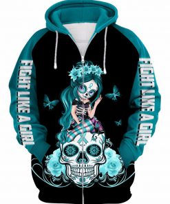 Sugar skull fight like a girl suicide prevention awareness 3d zip up hoodie