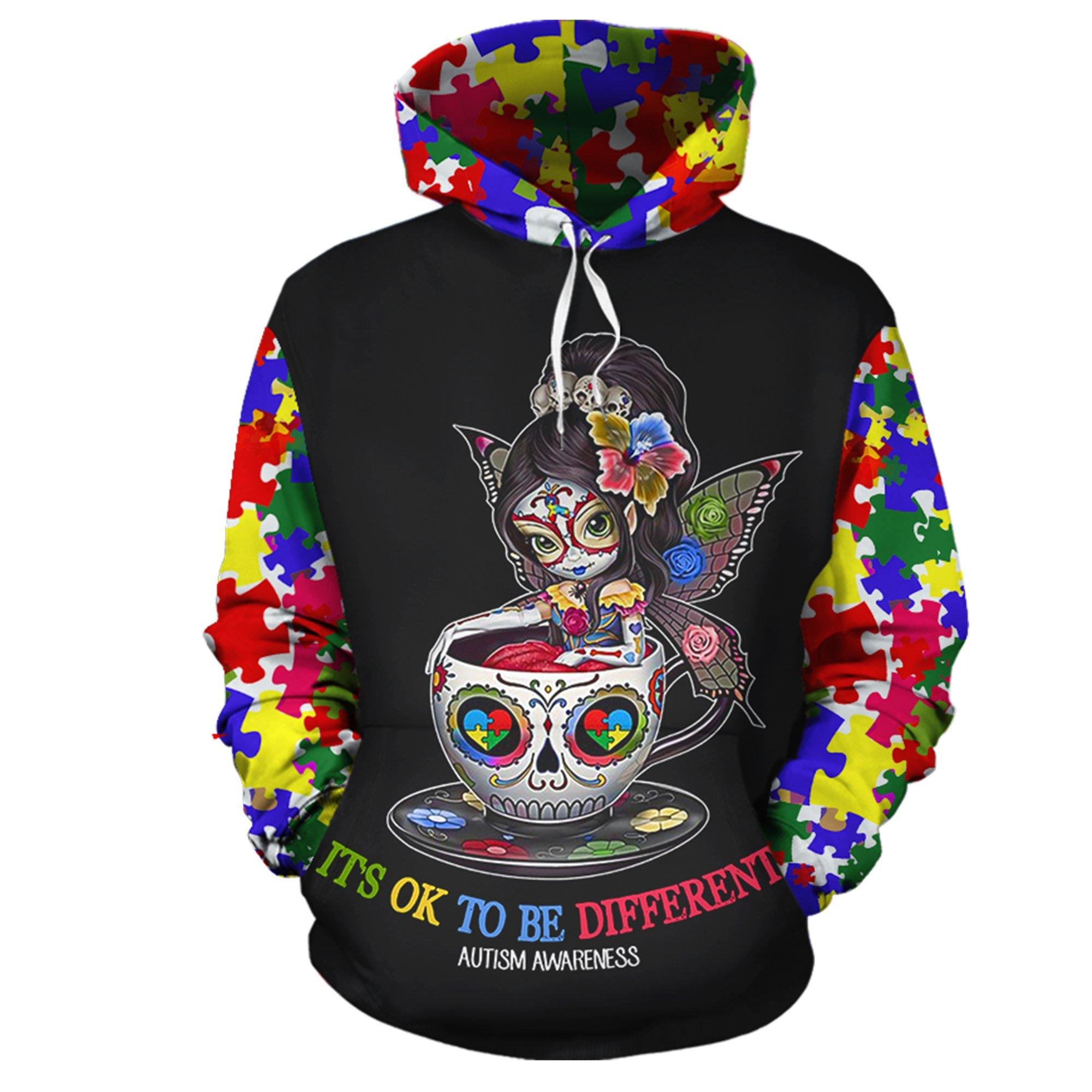 Sugar skull it's ok to be different autism awareness 3d hoodie