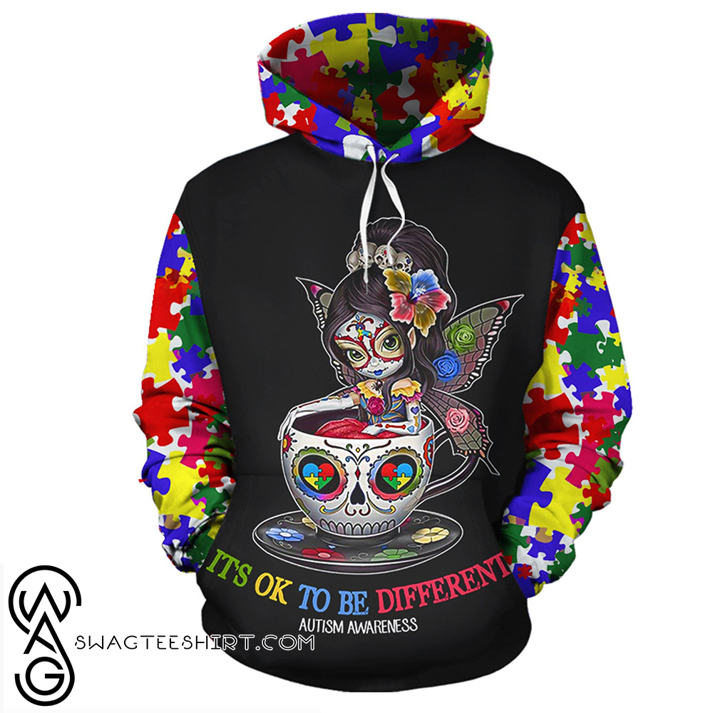 Sugar skull it's ok to be different autism awareness 3d shirt