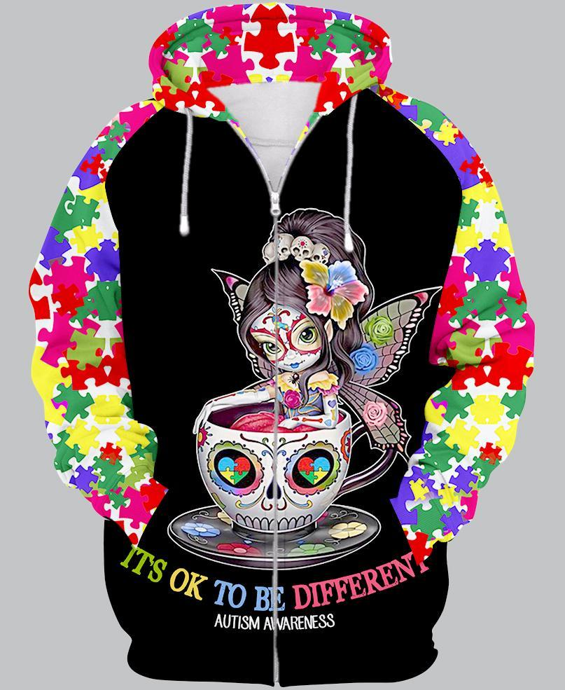 Sugar skull it's ok to be different autism awareness 3d zip-up hoodie