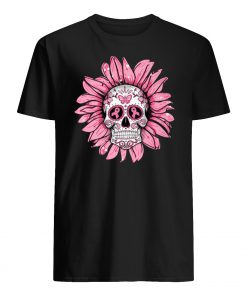 Sunflower sugar skull breast cancer awareness mens shirt
